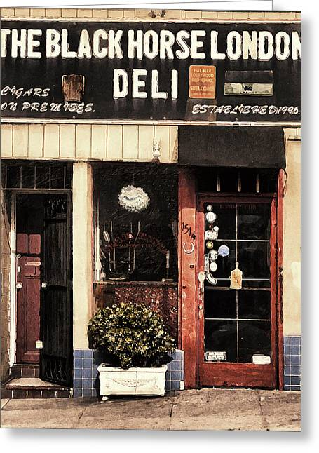 Store Fronts Digital Greeting Cards - The Black Horse London Deli Greeting Card by Ron Regalado