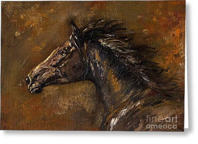 Wild Horses Greeting Cards - The Black Horse Oil Painting Greeting Card by Angel  Tarantella