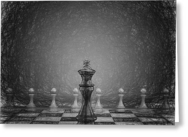 Chess Piece Drawings Greeting Cards - The black king Greeting Card by Carsten Reisinger