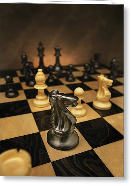 Chessmen Greeting Cards - The Black Knight Greeting Card by Don Hammond