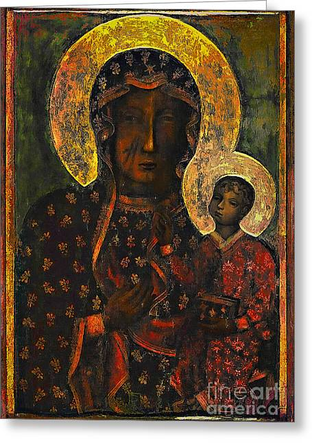 Jesus Christ Images Digital Art Greeting Cards - The Black Madonna Greeting Card by Andrzej Szczerski