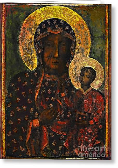The Black Madonna Greeting Card by Andrzej Szczerski