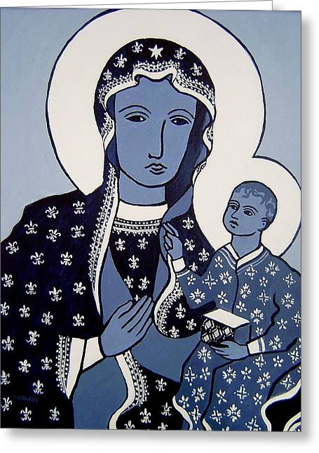 Religious ist Paintings Greeting Cards - The Black Madonna In Blue Greeting Card by John  Nolan
