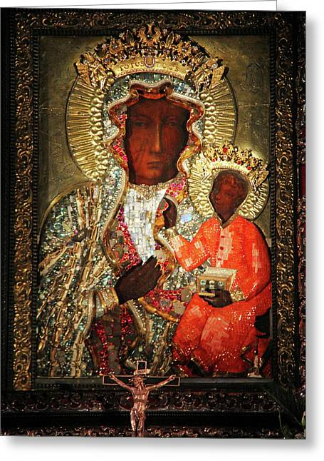 Gora Greeting Cards - The Black Madonna Greeting Card by Mariola Bitner