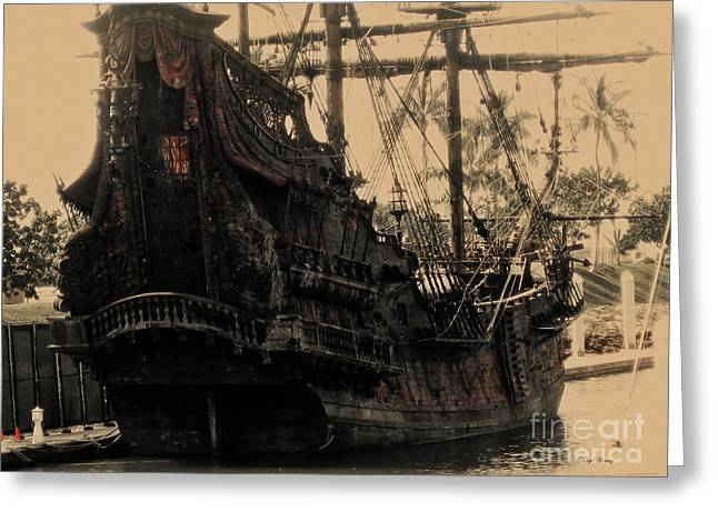 Pirate Ship Greeting Cards - The Black Pearl Greeting Card by Cheryl Young