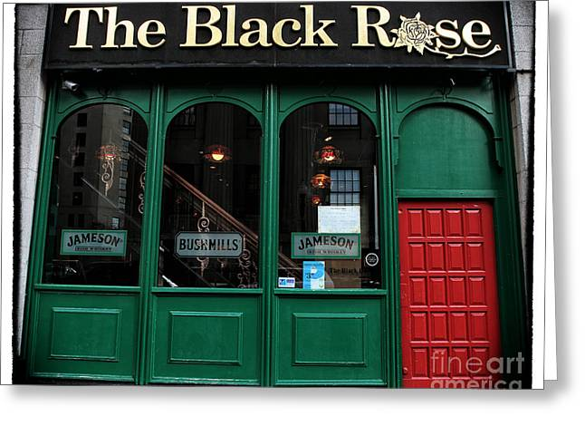 The Black Rose of Boston Greeting Card by John Rizzuto