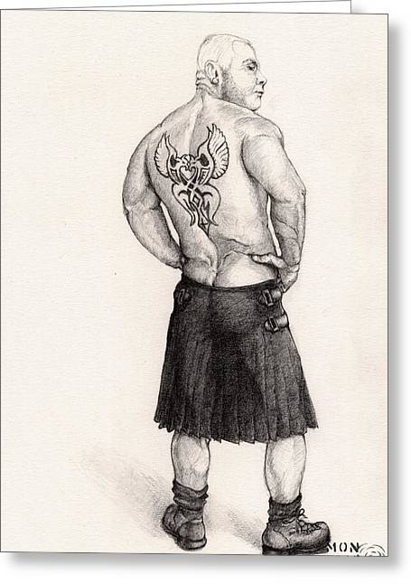 The Black Silk Kilt Greeting Card by Mon Graffito