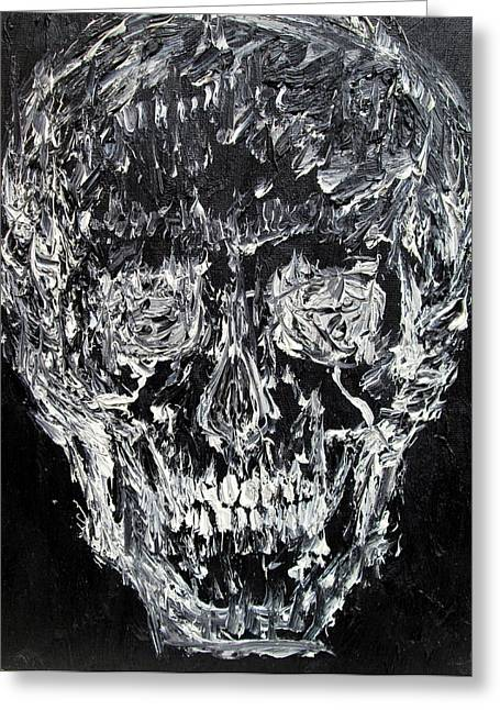 Mandible Greeting Cards - THE BLACK SKULL - oil portrait Greeting Card by Fabrizio Cassetta