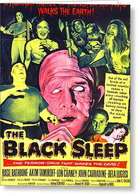 Monster Movies Greeting Cards - The Black Sleep Greeting Card by Studio Artist
