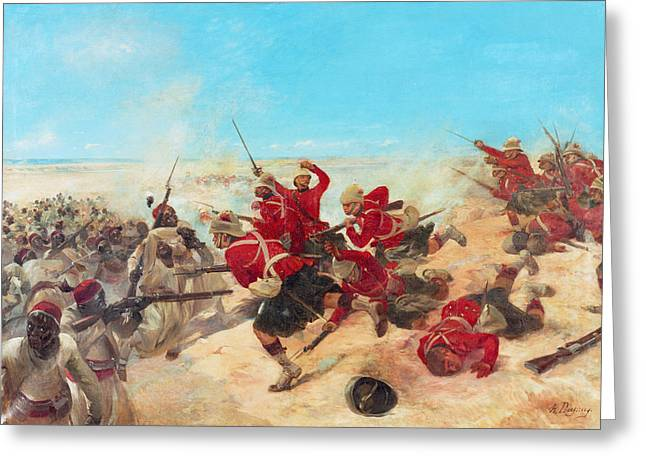The Black Watch At The Battle Greeting Card by Henri-Louis Dupray