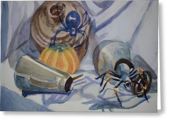Black Widow Paintings Greeting Cards - The Black Widow and Tarantula Crawl Out of Their Lairs Greeting Card by Margaret Montgomery