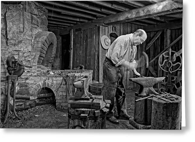 Apron Greeting Cards - The Blacksmith monochrome Greeting Card by Steve Harrington
