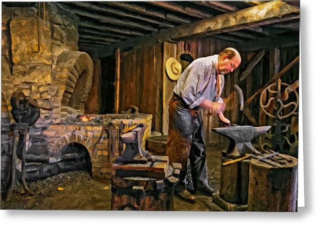 The Blacksmith Oil Greeting Card by Steve Harrington