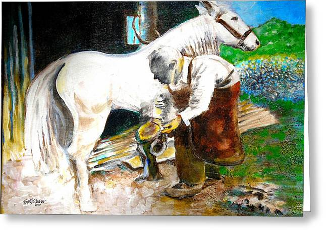 1880s Mixed Media Greeting Cards - The Blacksmith Greeting Card by Seth Weaver