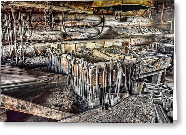 Sledge Greeting Cards - The Blacksmith Shop Greeting Card by Ken Smith
