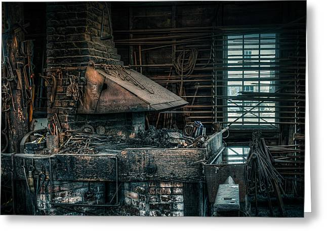 Blacksmith Greeting Cards - The blacksmiths forge - Industrial Greeting Card by Gary Heller