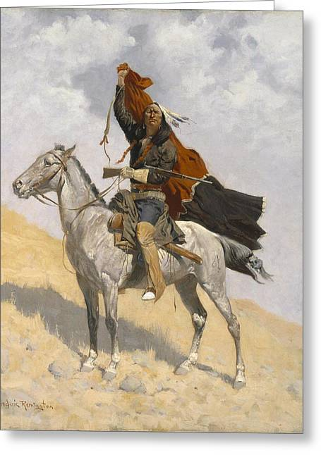 Remington Greeting Cards - The Blanket Signal Greeting Card by Frederic Remington