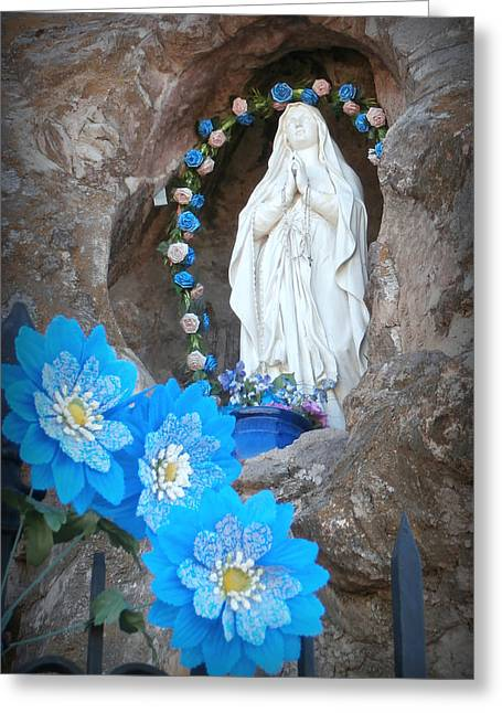 Blessed Mother Greeting Cards - The Blessed Virgin at Mission San Xavier del Bac Greeting Card by Karyn Robinson