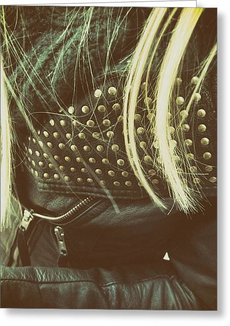 Leather Coat Greeting Cards - The Blonde Greeting Card by Mountain Dreams