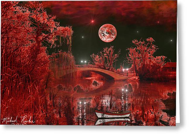 Reflections In River Digital Art Greeting Cards - The Blood Moon Greeting Card by Michael Rucker