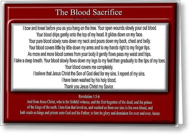 Repent Greeting Cards - The Blood Sacrifice Greeting Card by Bible Verse Pictures