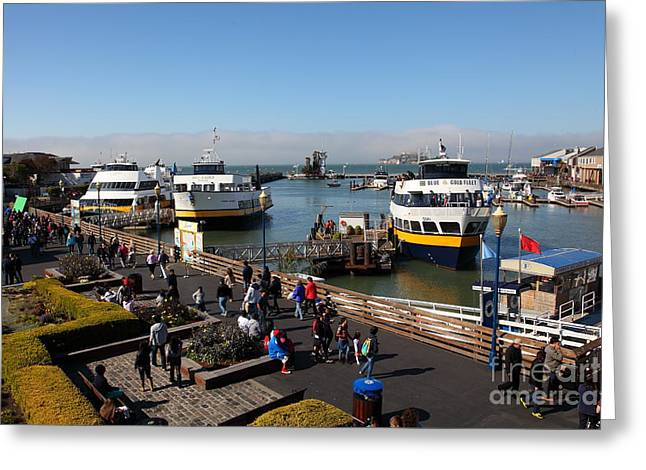 Alcatraz Greeting Cards - The Blue and Gold Fleet Ferry Boat At Pier 39 San Francisco California 5D26040 Greeting Card by Wingsdomain Art and Photography