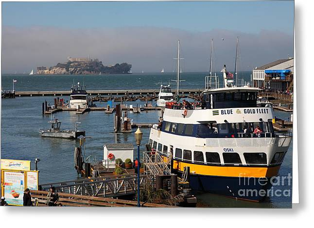 Alcatraz Greeting Cards - The Blue and Gold Fleet Ferry Boat At Pier 39 San Francisco California 5D26043 Greeting Card by Wingsdomain Art and Photography
