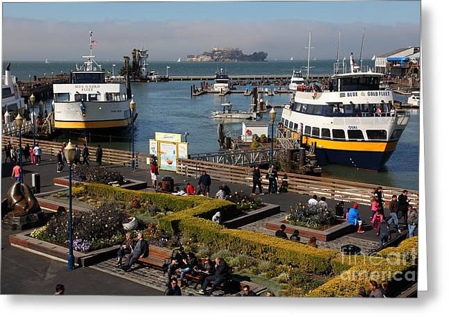Alcatraz Greeting Cards - The Blue and Gold Fleet Ferry Boat At Pier 39 San Francisco California 5D26044 Greeting Card by Wingsdomain Art and Photography
