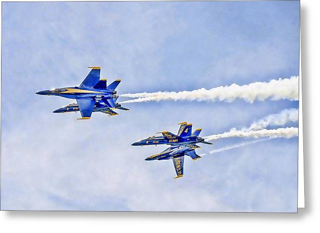 Angel Blues Greeting Cards - The Blue Angels Greeting Card by George Brunson