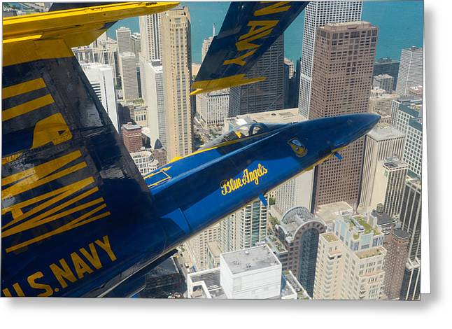Angel Blues Greeting Cards - The Blue Angels over Chicago Greeting Card by Specialist 1st Class Michael Lindsey