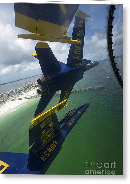 The Higher Planes Greeting Cards - The Blue Angels Perform The Diamond 360 Greeting Card by Stocktrek Images