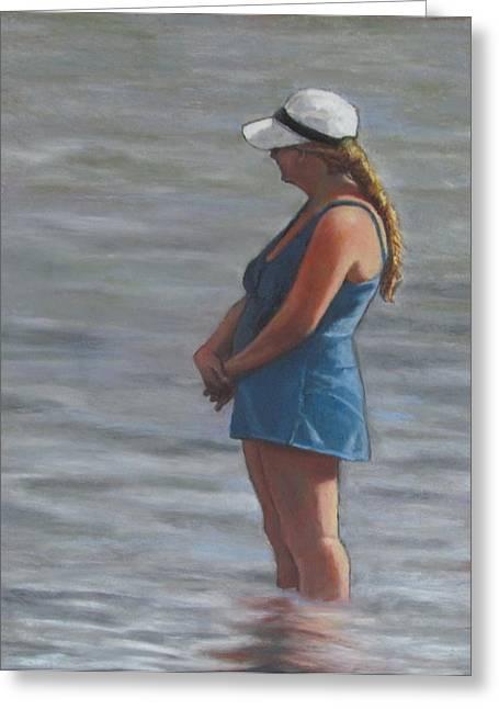 Suit Pastels Greeting Cards - The Blue Bathing Suit Greeting Card by Joyce Geleynse