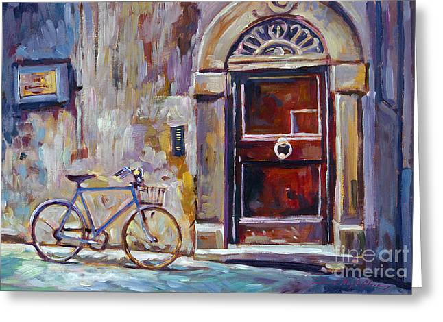 Wall Street Greeting Cards - The Blue Bicycle Greeting Card by David Lloyd Glover