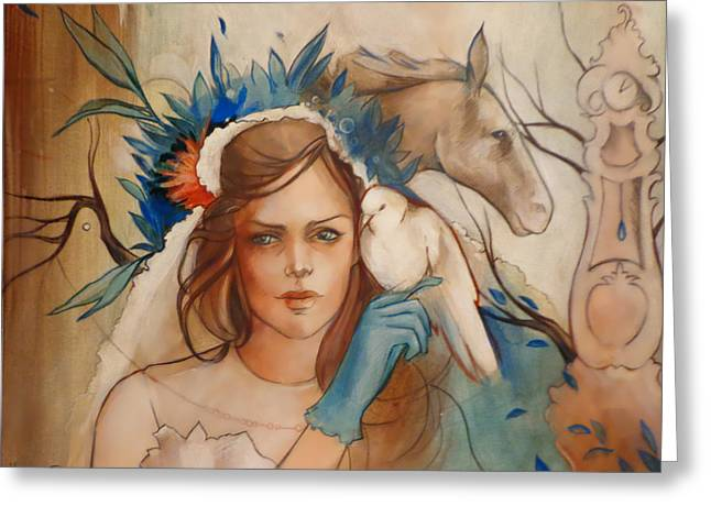 Veiled Greeting Cards - The Blue Bird Greeting Card by Jacque Hudson