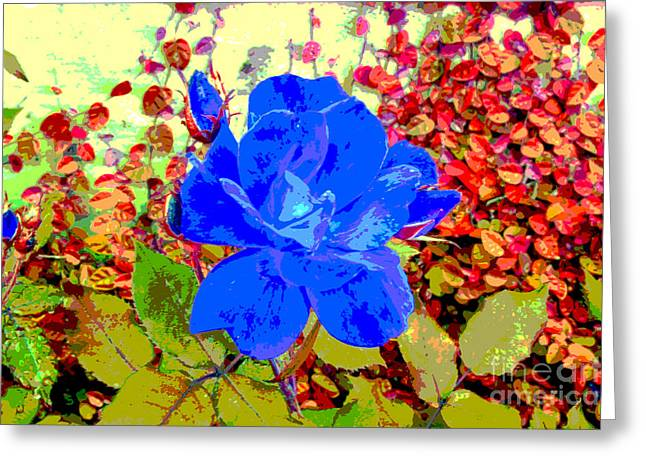 Digital Greeting Cards - The Blue Blue Rose Greeting Card by Alys Caviness-Gober