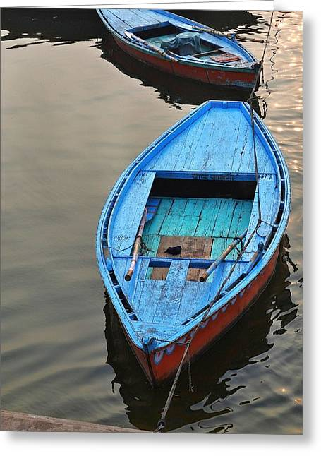 Beach Photography Greeting Cards - The Blue Boat Greeting Card by Kim Bemis