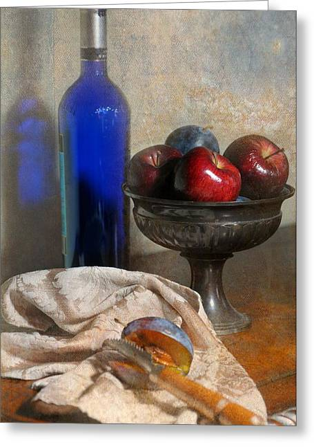 Fruit And Wine Greeting Cards - The Blue Bottle Greeting Card by Diana Angstadt