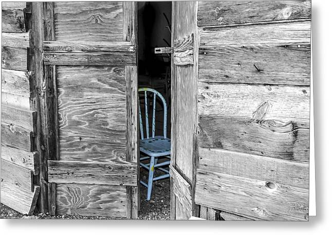 Old Barns Greeting Cards - The Blue Chair Greeting Card by Julie Basile
