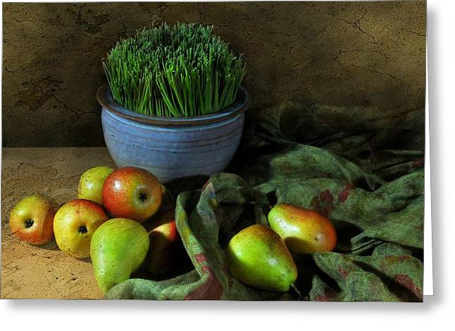 Still Life With Pears Greeting Cards - The Blue Clay Pot Greeting Card by Diana Angstadt