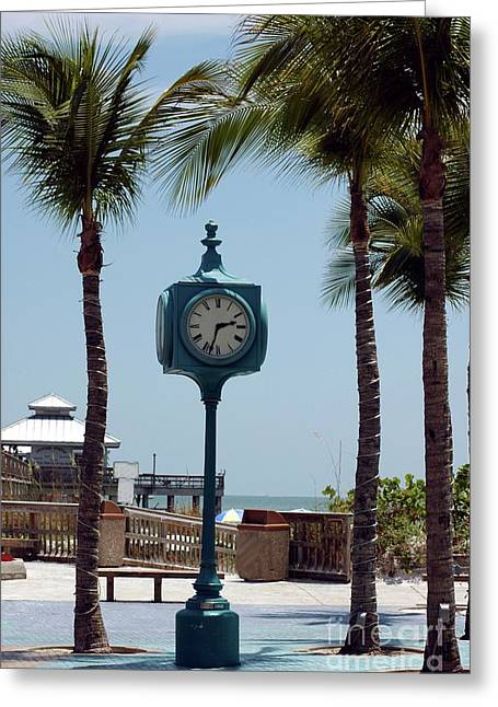 Fort Meyers Greeting Cards - The Blue Clock Greeting Card by Kathleen Struckle