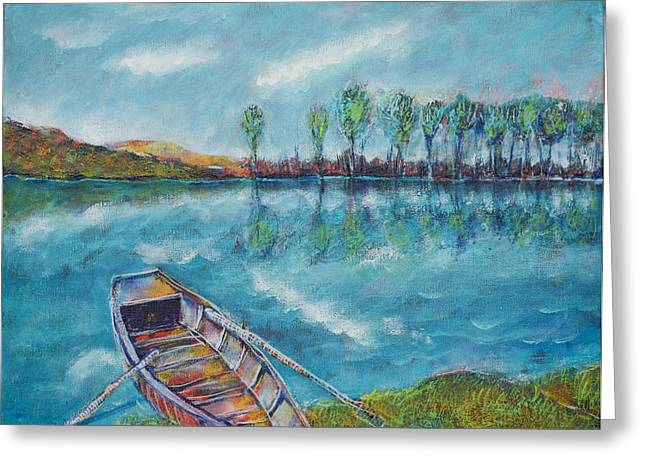 The Blue Danube Is Turquoise Greeting Card by Ion vincent DAnu