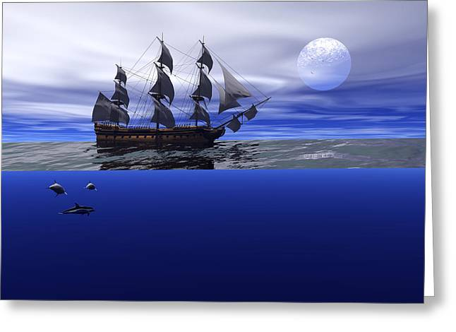 The blue deep Greeting Card by Claude McCoy