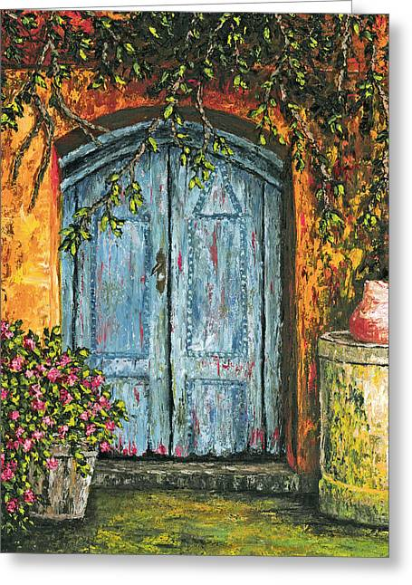 Old Pitcher Greeting Cards - The Blue Door Greeting Card by Darice Machel McGuire