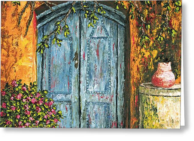 The Blue Door Greeting Card by Darice Machel McGuire