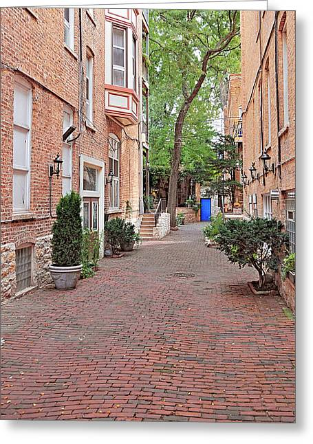 Paths Greeting Cards - The Blue Door - Gaslight Court Chicago Old Town Greeting Card by Christine Till