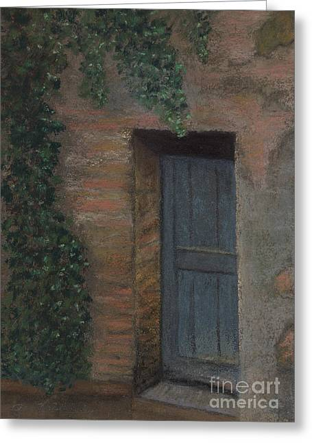 Old Door Pastels Greeting Cards - The Blue Door Greeting Card by Ginny Neece