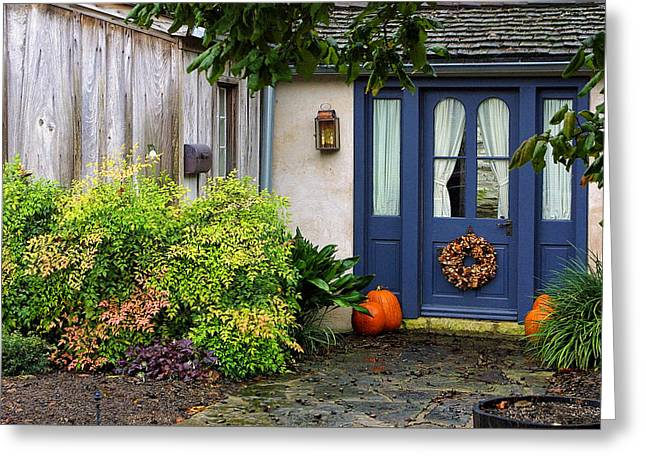 Entrance Door Greeting Cards - The Blue Door Greeting Card by Linda Phelps