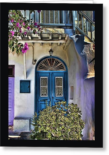 The Blue Door-santorini Greeting Card by Tom Prendergast