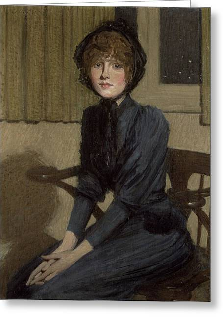 Seated Greeting Cards - The Blue Dress, 1892 Greeting Card by Philip Wilson Steer