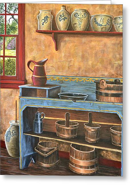 Stoneware Paintings Greeting Cards - The Blue Dry Sink Greeting Card by Dave Hasler